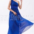 stunning royal blue chiffon one shoulder a-line ankle length bridesmaid dress IMG-9487
