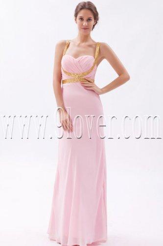 noble pink chiffon spaghetti straps a-line floor length bridesmaid dress IMG-9510
