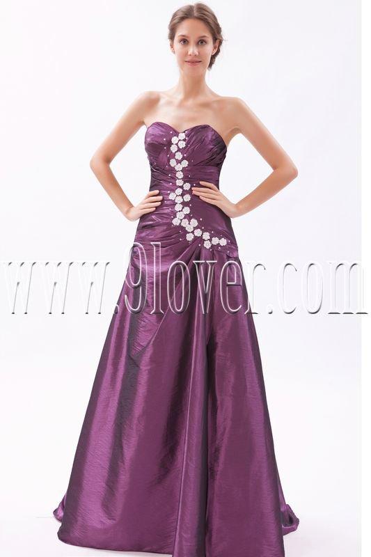 stunning grape taffeta sweetheart a-line floor length prom dress IMG-9607