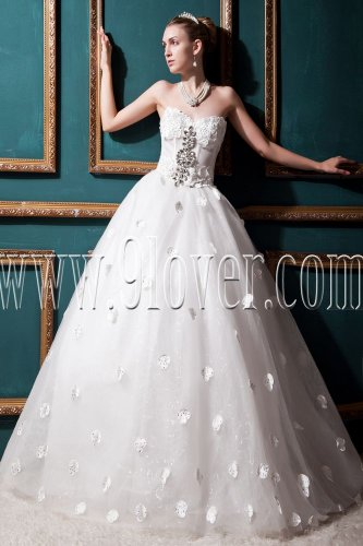 stunning white tulle sweetheart ball gown floor length wedding dress with appliques IMG-0344