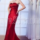 modern burgundy satin strapless a-line floor length prom dress IMG-0108