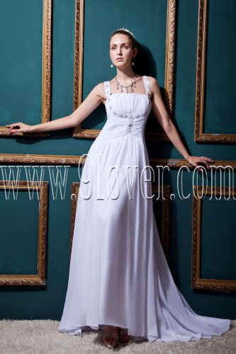 exclusive white chiffon straps a-line floor length wedding dress IMG-0442