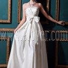 modest white satin strapless column ankle length wedding dress IMG-0469