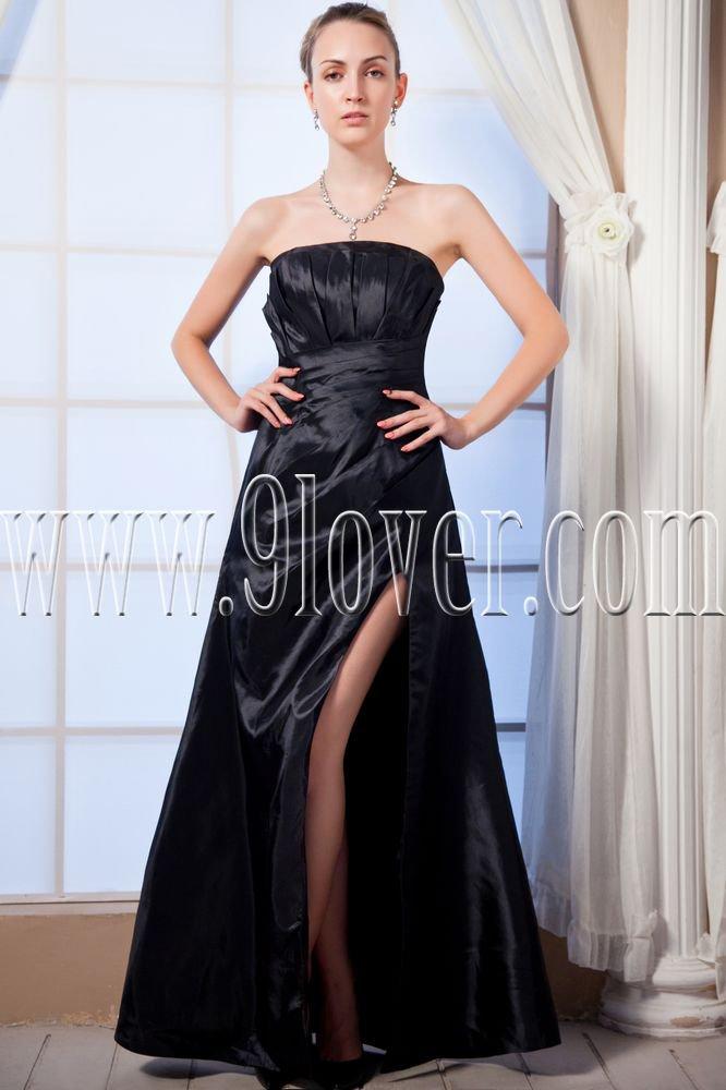 modest black satin strapless column floor length evening dress with split skirt IMG-0041
