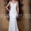 vintage v-neckline white lace a-line floor length wedding dress IMG-1637