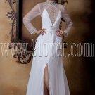 stunning high neckline sheer sleeves a-line floor length beach wedding dress IMG-1700