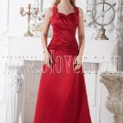 red a-line floor length halter neckline satin prom dress IMG-1958