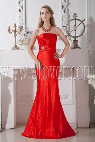 red satin trumpet mermaid floor length formal evening dress IMG-1999