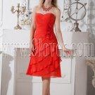 red chiffon sweetheart a-line tea length wedding guest dress IMG-2025