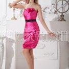 fuchsia satin strapless a-line knee length cocktail dress IMG-2095
