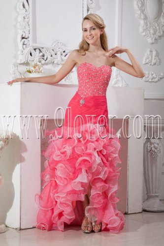 hot pink organza sweetheart a-line floor length prom dress with ruffles skirt IMG-2214