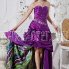 purple taffeta sweetheart neckline ball gown mini length prom dress with big train IMG-2333