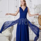 deep v-neckline dark royal blue chiffon a-line floor length prom dress IMG-2362