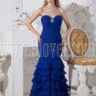 royal blue chiffon strapless neckline a-line floor length prom dress IMG-2377