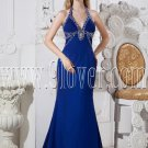 halter neckline royal blue chiffon a-line floor length formal evening dress IMG-2420