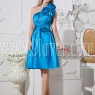one shoulder sky blue a-line knee length bridesmaid dress IMG-2435