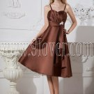 modest brown satin spaghetti straps a-line tea length wedding guest dress IMG-2462