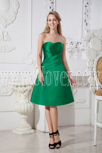 green satin sweetheart neckline a-line knee length wedding guest dress IMG-2501