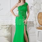 bud green chiffon column floor length one shoulder informal evening dress with split skirt IMG-2514