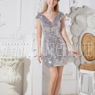 deep v-neckline silver sequined lace cap sleeves a-line mini length party dress IMG-2537