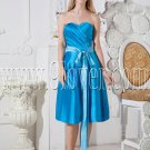 blue satin shallow sweetheart neckline column tea length bridesmaid dress IMG-2547