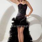 black tulle spaghetti straps sheath mini length cocktail dress with brush train IMG-1810