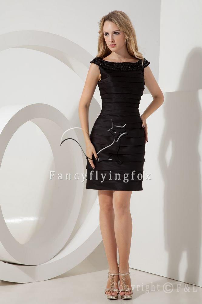 off the shoulder black satin a-line mini length mother of the bride dress IMG-2185