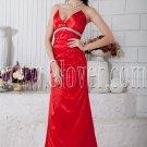 v-neckline red satin front short long back floor length prom dress IMG-6742