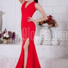 informal halter red chiffon a-line floor length evening dress IMG-6910