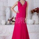deep v-neckline fuchsia chiffon a-line floor length bridesmaid dress IMG-6918