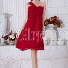 empire red chiffon knee length one shoulder homecoming dress IMG-6933