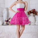 white and fuchsia organza sweetheart a-line mini length cocktail dress IMG-6961