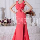 water melon chiffon straps a-line floor length informal evening dress IMG-6976