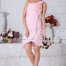 mini length pink chiffon one shoulder a-line homecoming dress IMG-7037
