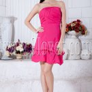 modern fuchsia satin strapless mini length a-line cocktail dress IMG-7050