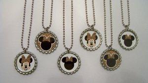 Minnie Mouse Leopard Disney Birthday Party Favors Bottlecap Necklace