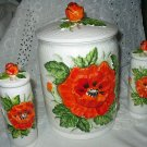 *Reduced* Great Lefton Cookie Jar/Cannister and Salt and Pepper Vintage Set-Poppy Flowers