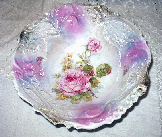 Beautiful Large Vintage Prussia Style Handpainted Irridescent/Pearlized Bowl-Roses-Chipped
