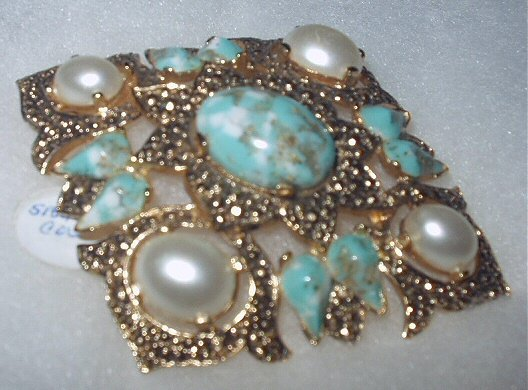 Vintage Signed Sarah Coventry Large Faux Turquoise and Pearl Diamond-Shaped  Brooch