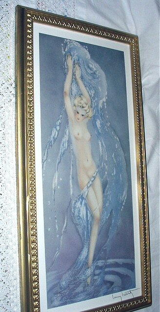Lovely 2/3rds Yardlong Size-Louis Icart-FOUNTAIN-Newer Lithograph Framed Print-Lovely Nude Nymph