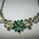 Vintage Marquise-Shaped Deep Emerald Rhinestone Flower Necklace