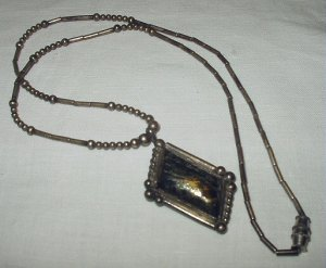 Vintage Sterling Silver-Native American Navajo?Designed-Artist Signed-Mens Necklace,Gold/Black Stone