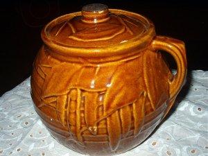 Vintage McCoy Brown Leaf Pattern Cookie Jar/Cannister