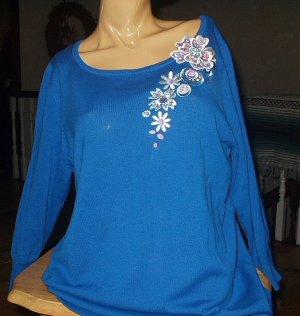 Bob Mackie Womans Top-Size Medium-Ocean Blue Blouse with Floral Embellishment