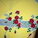Vintage Startex Tablecloth-Miniature Red Roses Against Yellow Background