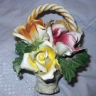 Beautiful Capodimonte Roses In Basket Display-Heavy Porcelain Made In Italy