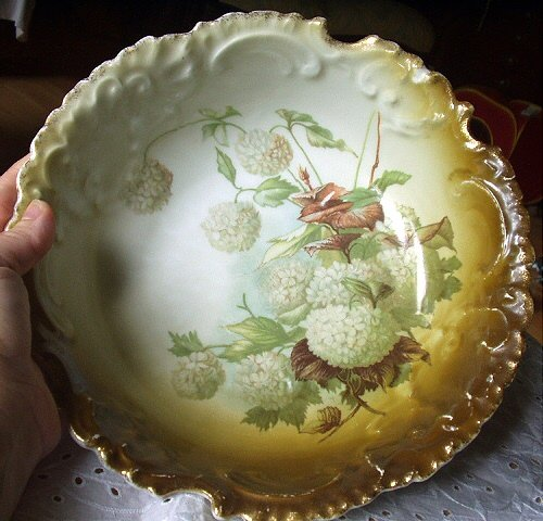 Antique Rosenthal Bavaria Bowl-Nice Color Pattern-White Snowball Flowers