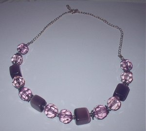 Vintage Purple and Pink Beaded Necklace
