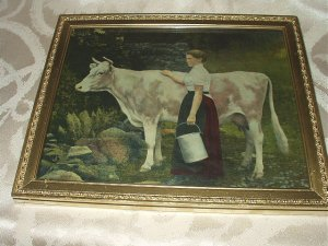 Woman Milking Cow Antique Framed Print