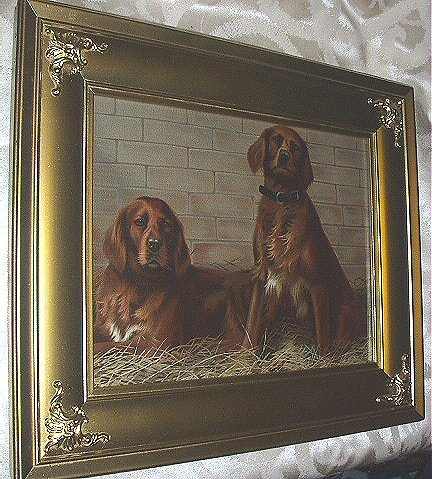 *Reduced* 1893 Bell-Cap-Sic Advertising Print-Pair of Red Irish Setter Dogs